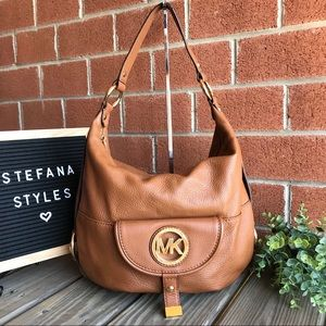 Michael Kors Fulton Acorn Leather Hobo Handbag